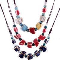 Women Vintage Geometric Ceramic Beads Pendant Statement Necklace Gift Jewelry