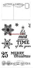 FISKARS Simple Stick Rubber Stamps Merry Christmas, Post Card, Snow Flake, Joy