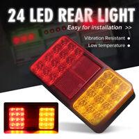 2X 24LED Trailer  Rear Light Brake Stop Tail Turn Indicator Lamp Car