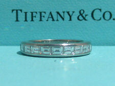 TIFFANY & CO. CHANNEL BAGUETTE BRIDAL PT950 PLATINUM DIAMOND RING BAND SIZE 4
