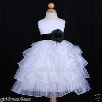 WHITE/BLACK ORGANZA TIERED PAGEANT WEDDING FLOWER GIRL DRESS 12M 18M 2 4 6 8 10