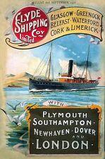 Clyde Dampf Ozeandampfer, Schiff, Boot, See, Klein Blechschild, Bild