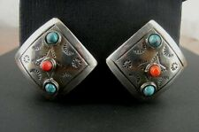Taxco Vintage Coral Turquoise Native Design Square Mexico Clip On EARRINGS