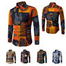 Mens SHIRTS Slim Fit Stretch Long Sleeve Casual Cotton Multi Pattern Plus Size