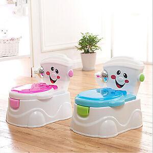 Pot Pour Bebe Enfant de WC Toilette En Plastique Doux Garcon Et Fille Bleu/Rose
