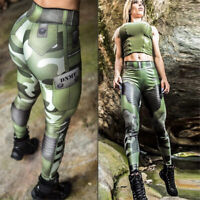 Women Fitness Trousers Pant Gym Leggings Scrunch Yoga Stripes Push Up Camouflage