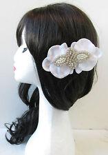 White Silver Ivory Pearl Rhinestone Orchid Flower Hair Clips Beach Bridal S86