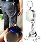 Metal Steel Retractable Pull Chain Holder Reel Recoil Key Ring Belt Clip