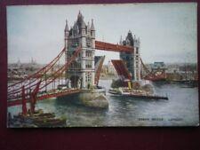 POSTCARD LONDON TOWER BRIDGE WITH STEAMER GOING THRO THE BRIDGE