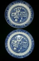 """Vintage BLUE WILLOW PLATES - Wood and Sons = England -10"""" - SET OF TWO"""