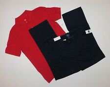 NWT Gap Boys 2 Pc Outfit Red Polo Shirt/ Navy Khaki Pants M(8-9) L(10-11) New