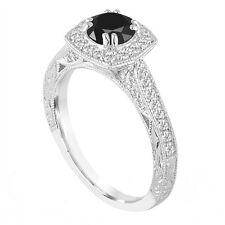 Platinum Enhanced Fancy Black Diamond Engagement Ring 1.35 Carat Vintage Style