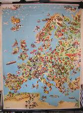 Schulwandbild schöne alte Europakarte Wirtschaft Verkehr 90x119~1955 vintage