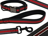 KIEPAWS Comfort Plus Reflective Padded Dog Lead and Collar Set All Sizes Red