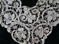 "Antique Handmade 19thC Cream Needle Lace Fancy Dress Front~Bridal~44""L X11""W"
