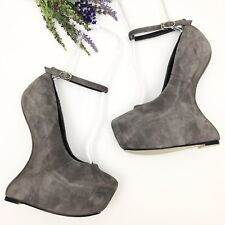 Giuseppe Zanotti Design Jem Heelless Wedges Grey Suede Size 36 Sculptural Heels