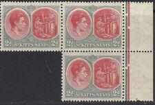 St. Kitts-Nevis, Sc 82a (SG 71), MNH block of three