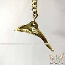 Vintage Solid Brass Dolphin Fish Key Chain Nautical Collectible Christmas Gift