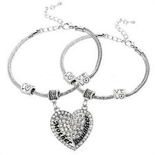 2 x Mother and Daughter Love Broken Heart Bangle charm Bracelets