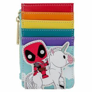 Loungefly Deadpool Cardholder Wallet Unicorn Rainbow Marvel Funko POP