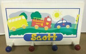 "13-3/4""x 7-3/4"" Clothes Coat Hook Hat Rack Kids Room Personalized Name Scott"