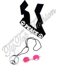 JOHN LENNON Disfraz Kit Hippy diadema Gafas Collar Retro