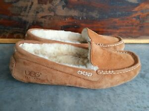 UGG ANSLEY CHESTNUT BROWN SHEARLING LINED MOCCASIN SLIPPERS WOMEN'S sz 9