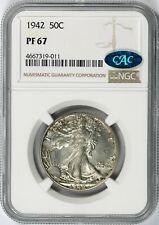 1942 Walking Liberty Silver Half Dollar 50c NGC CAC PF67