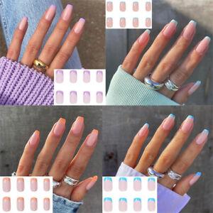 24PCS Mini French Style Fake Nails Reusable Stick False Nail Tips Press On DIY