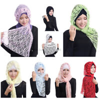 Arab Women's Lace Long Scarf Muslim Hijab Shawl Underscarf Scarves Wrap Headwear