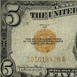 RARE ORANGE SEAL 1928-F $5 UNITED STATES PAPER MONEY ERROR BANKNOTE!