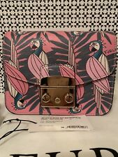 NWT FURLA Metropolis Parrot Print Crossbody 881273 Multicolor with Leather Strap