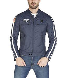 Giubbotto BLAUER uomo blu giacca tessuto tecnico con bande e tasche full zi