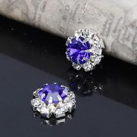 10  ROUND BLUE & DIAMANTE SILVER  EMBELLISHMENTS 12MM WEDDING/CARD CRAFT