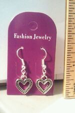 Handmade Cute Dangle Earrings - Silver Plated Hollow Heart  - Free Shipping