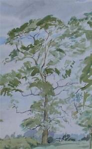 Ralph Hartley (British 1926-1988) Trees Along Pasture Watercolour Painting c1960