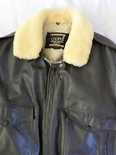 COOPER made USA brown leather Sherpa wool A-1 flight military jacket 44