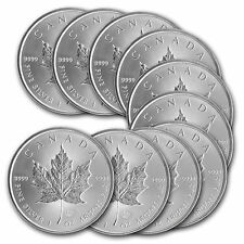 Lot de 10 pieces argent Maple Leaf du Canada 5 dollars 1 oz silver coins