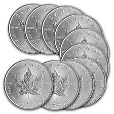 Lotto di 10 pezzi argento Acero Leaf del Canada 5 dollari 1 oz silver monete