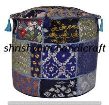 "22"" Indian Vintage Khambhadia Handmade Patchwork Boho Ottomans Stool Pouf Cover"