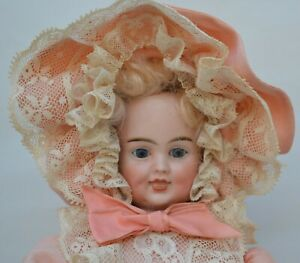 Carl Bergner- 3 Faces Bisque Doll -Smiling Sleeping Crying- Pull String-1890-16""