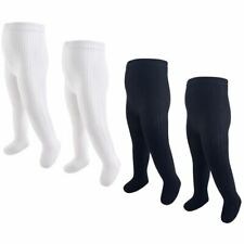 Hudson Baby Girl Cable Knit Tights, 4-Pack, Black and White