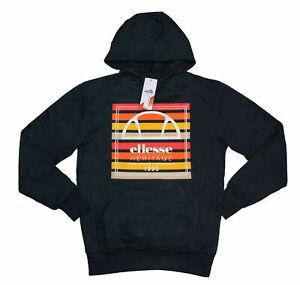 Ellesse Baschi Collection Logo Front Men's Hooded Sweatshirt M NWT Black