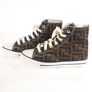 Vintage Fendi 36 Zucca Never Worn High Cut Sneakers Shoes.US 6 NFV6468