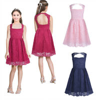 Mädchen Kinder festlich Spitzen Kleid Hochzeit Partykleid Blumenmädchenkleid