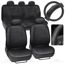 Black PU Leather Car Seat Covers GripDrive Steering Wheel Cover Stitched