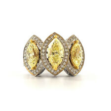 3 Natural Fancy Yellow Marquies and brilliant Diamond on 18k Gold Ring