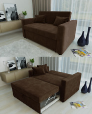 RAVENA 2 Seat Pull out Sofa Bed Living Room Lounge Couch Brown Linen Fabric