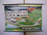 Schulwandkarte schöne alte Speicherbecken Wasserspeicher 116x81 vintage map~1959