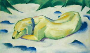 Franz Marc Dog Lying in the snow Poster Reproduction Giclee Canvas Print